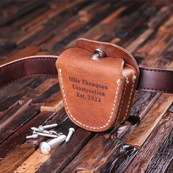 Engraved belt pouch  https://www.etsy.com/listing/163347616/tool-belt-pouch-personalized-gift-for