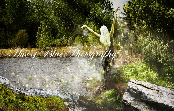 Tree Nymph. photoshop actions, photography, nature, magic, fantasy, water, forest, sparkles, sun rays, lake