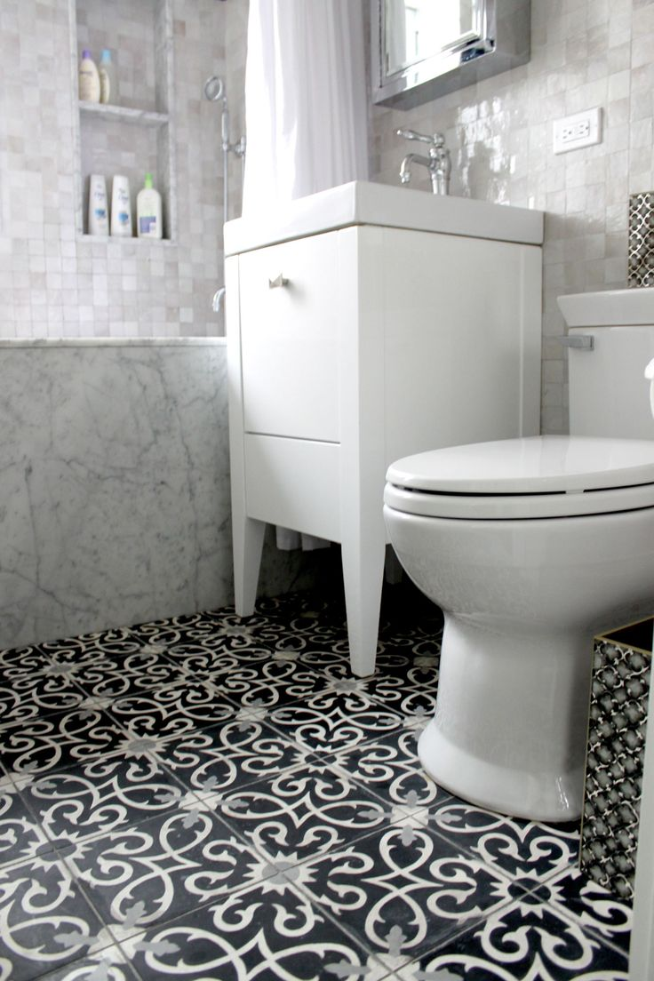 guest bathroom flooring wet room lucifer c4 14 24 moroccan cement tile home details. Black Bedroom Furniture Sets. Home Design Ideas