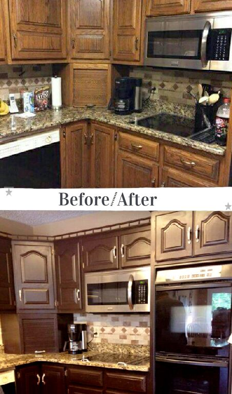 """Delicious Dark Chocolate cabinet upcycle by Theresa at King's Creations_! Theresa says, """"Before and After of kitchen makeover using Dark Chocolate Milk Paint and Polyacrylic by King's Creations."""" Check out our new video for more tips on cabinet refinishing, """"A Stunning Update for Your Kitchen Cabinets Using General Finishes Gel Stain"""" at https://youtu.be/OgX5yE5rUbo :)"""