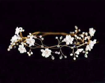 Blanc accessoires de cheveux de mariage couronne de fleurs