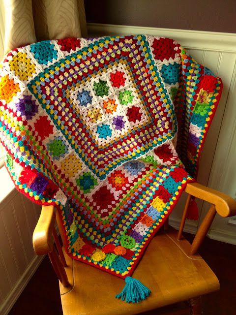 Colorful crochet blanket by Dawn Davis