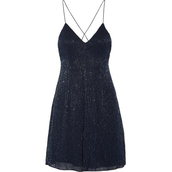 Alice + Olivia Alves beaded georgette mini dress ($625) ❤ liked on Polyvore featuring dresses, vestidos, sparkly dresses, a line cocktail dress, short a line dresses, short dresses and short beaded cocktail dresses