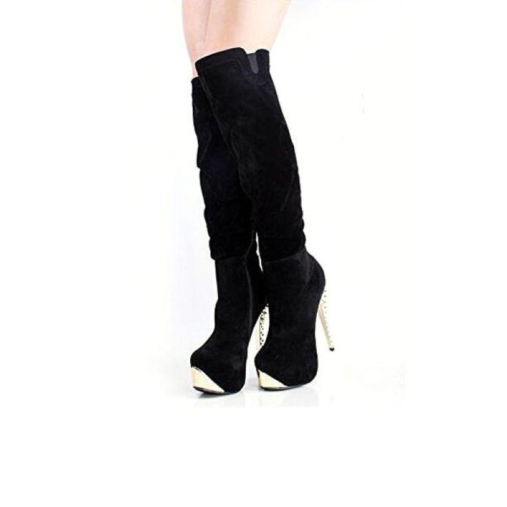 Fashionable Women All-matching High Heel Platform Elastic Jackboots Black