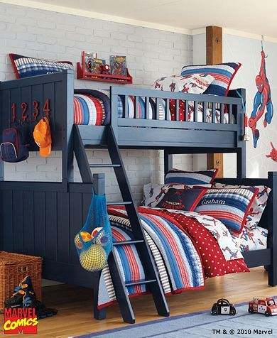 Love the little touch of super hero style in this room. Works for my older boys, but still fun!
