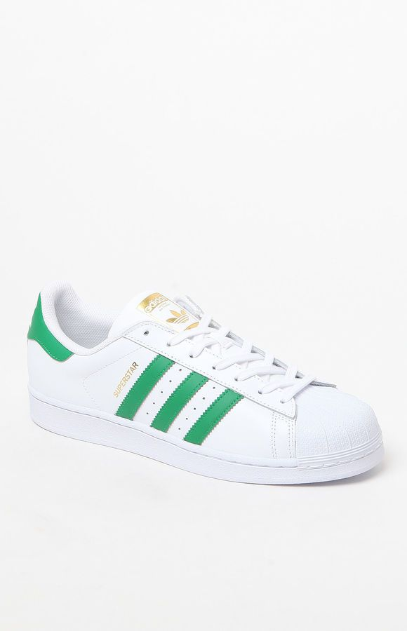adidas Superstar White & Green Shoes