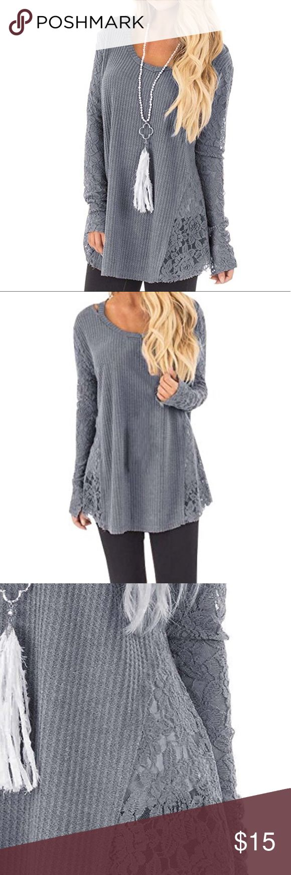 Women's long sleeve knitted crochet pullover top Blue/grey, lace detailing with cut outs on the neckline. Brand new, worn once! Great condition. FISACE Tops Tees - Long Sleeve