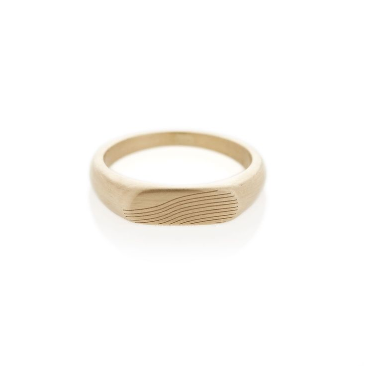 Slope yellow gold landscape signet ring | Dear Rae | Online shop