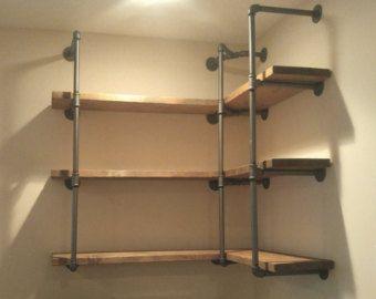 Custom Corner Pipe Shelving Wall Shelving by PipeFurnitureDesigns