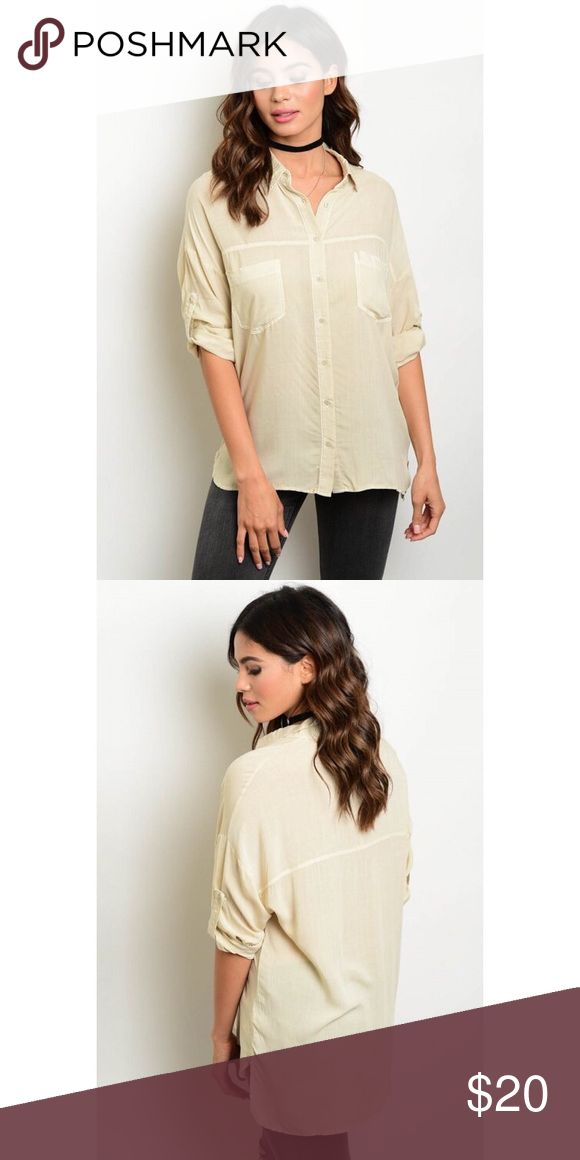 🆕 Women's Khaki Soft Button Up Blouse This button up Blouse features a khaki color , 3/4 adjustable sleeves, pointed collar. Easy to pair with skinny jeans and flats! 🍂🍂 Tops Button Down Shirts