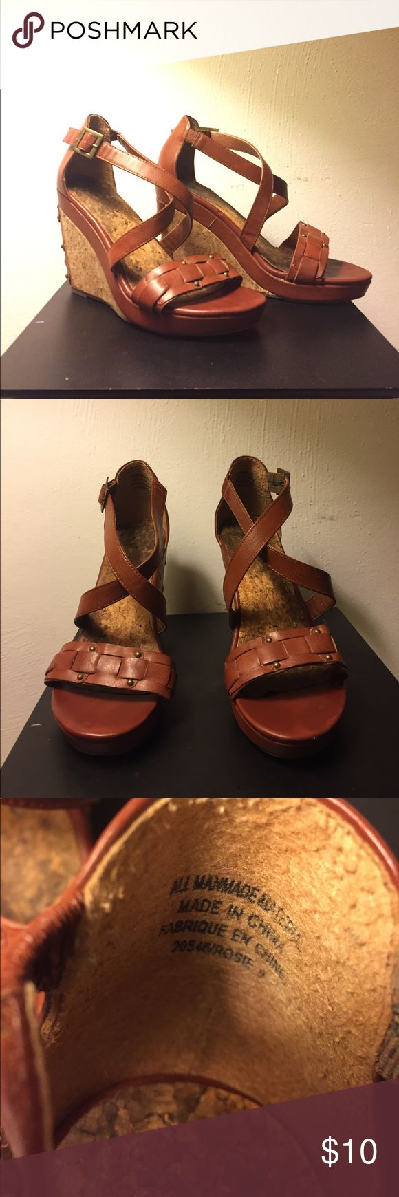 Brown Cork Wedges Worn twice for graduations.  In very good condition   No offers. I'm listing these as low as I can go. Maurices Shoes Wedges
