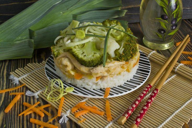 Бефстроганов из курицы с луком пореем, рисом, брокколи и цветной капустой. Пошаговый рецепт с фото - Ботаничка.ru