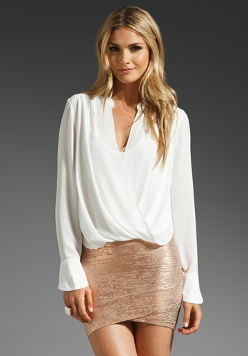 BCBGMAXAZRIA Top in Alabaster with the rose gold skirt. Love this entire outfit and I need it now!