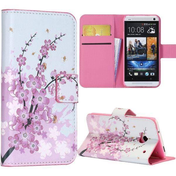 Roze bloesem booktype hoesje voor HTC One m7