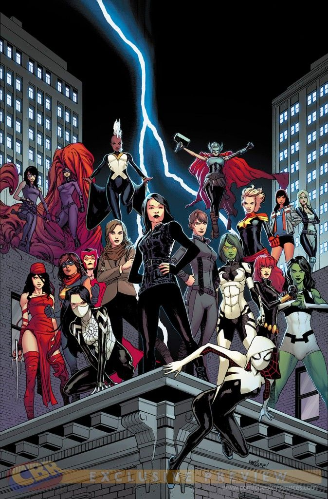 Agents of SHIELD #1, alternate cover: Awesome Ladies of Marvel - Hawkeye, Medusa, Storm, Thor, Elektra, Ms. Marvel, Scarlet Witch, Agent Simmons, Agent May, Agent Hill, Captain Marvel, Miss America, Mockingbird, Silk Spider, Gamora, Black Widow, She-Hulk and Spider-Gwen. I must have it.