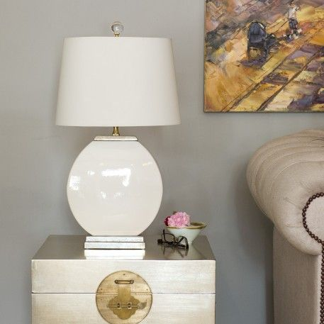 a traditional chinese ceramic table lamp with lamp shade included