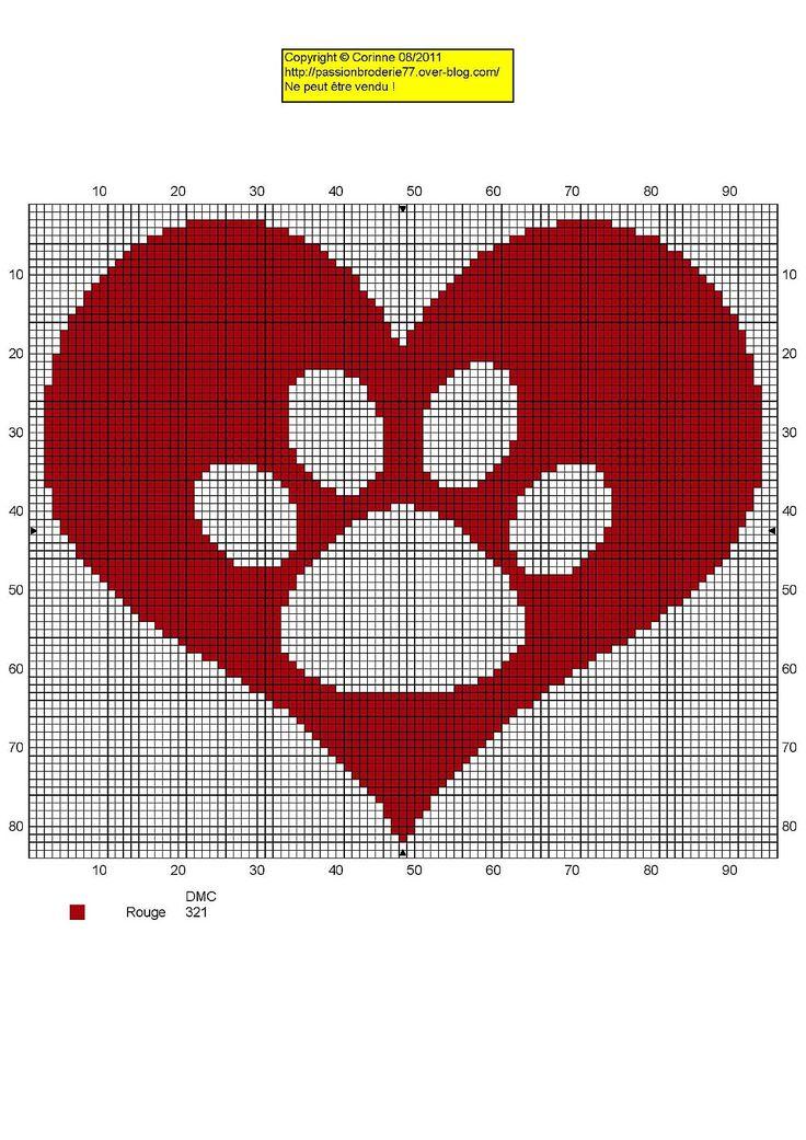 Dog Paw Print Heart Free Cross Stitch Chart Needlepoint Pattern