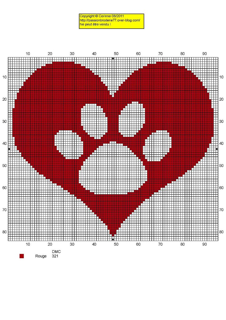 Dog Paw Print Heart Free Cross Stitch Chart Needlepoint Pattern