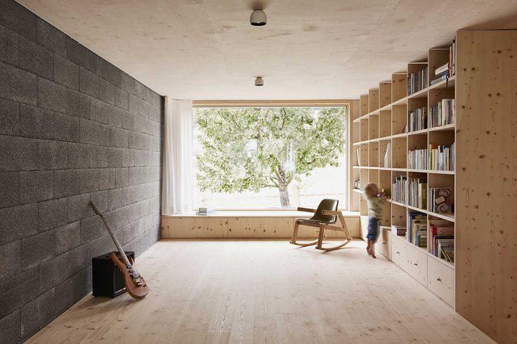 Simple volume, modest materials, large window, tons of storage. House Feurstein by Innauer Matt Architekten   Yellowtrace