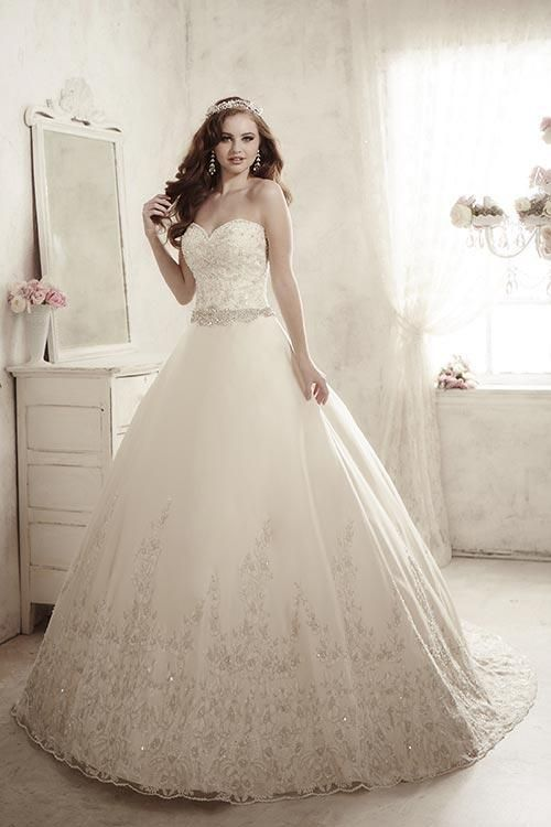 Balletts Bridal - 22766 - Wedding Gown by Jacquelin Bridals Canada - Elegant strapless gown with a beaded lace bodice and heavily beaded waistband. Large beaded appliqués adorn the hem of the satin skirt.