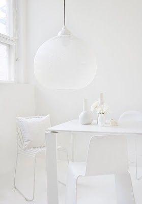 """White Interiors"" by http://www.leuchtend-grau.de/ White on white, homewares and light - moooi #white#homewares#dining"