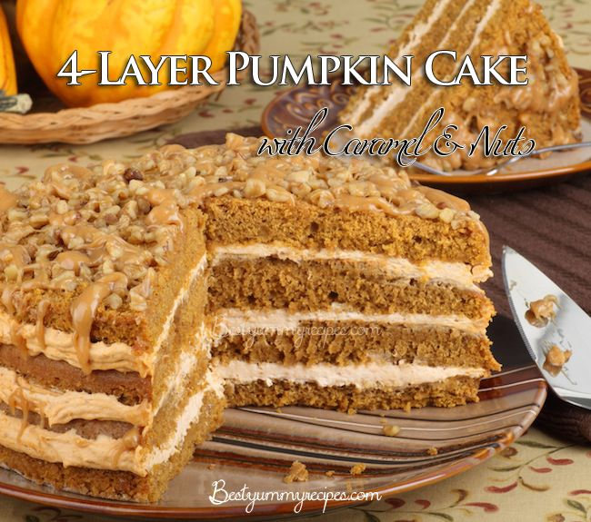 pumpkin layer cake 4 layer pumpkin cake with caramel and nuts http www 6856