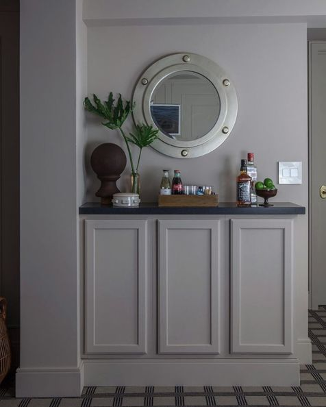 Farrow & Ball's Elephant's Breath, which features a hint of magenta, provides a warm contemporary grey for Makerista's remodel.