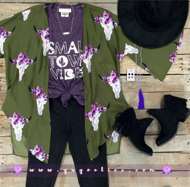 Far Out West Bull Skull Kimono in Olive | $42.95