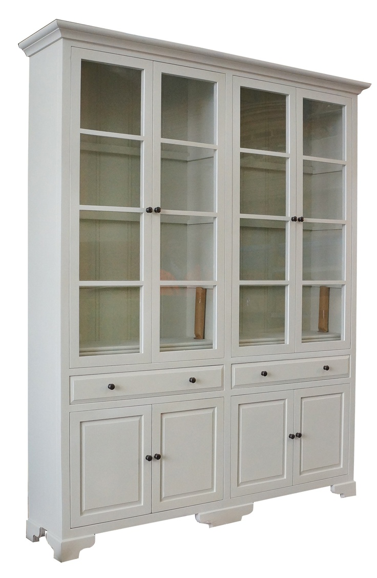 French Provincial Furniture Classic Display Cabinet  Bookcase in Pearl White