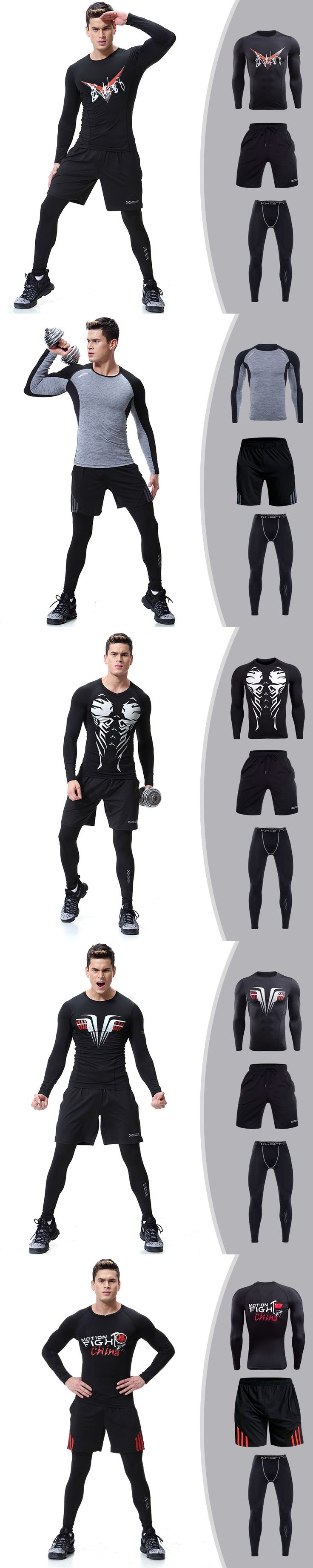 Autumn and Winter New Men's Long Sleeves Tight Three-piece Suit (T-shirt, Leggings, Shorts)
