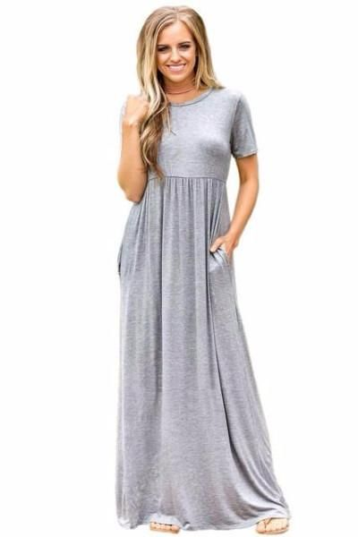 Casual Party Short Sleeve Ruched Waist Maxi Dress