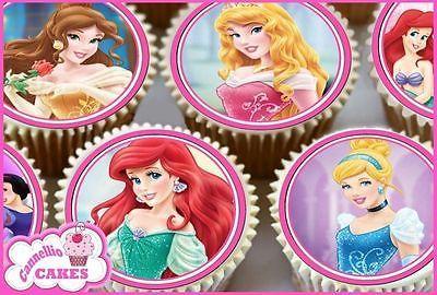 24 X Rose Mixte Princesse Comestible Cupcake Toppers gâteau de riz PREMIUM PAPER 0142