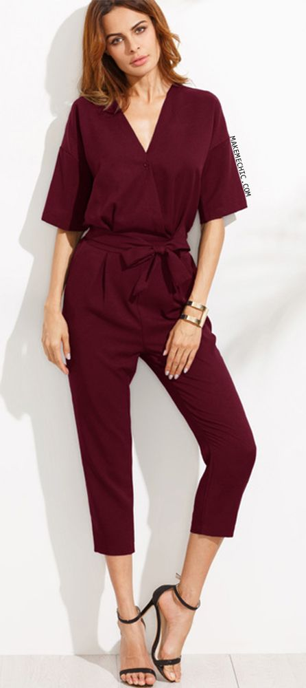 Burgundy V Neck Drop Shoulder Self Tie Jumpsuit