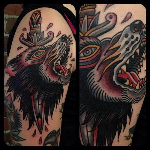 52 best images about ink wolf head tattoo on pinterest for Wolf tattoo traditional