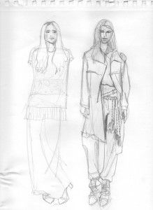 cavalera 2014 SPFW lookbook pencil sketch by Laura Volpintesta#online fashion illustration and design INTENSIVE immersion course experience! Check it out!! I'm here for you. $750 tuition for a limited time includes your art supplies for fashion designers kit shipped to you. 15 week online semester created by Parsons fashion faculty of 17 years.