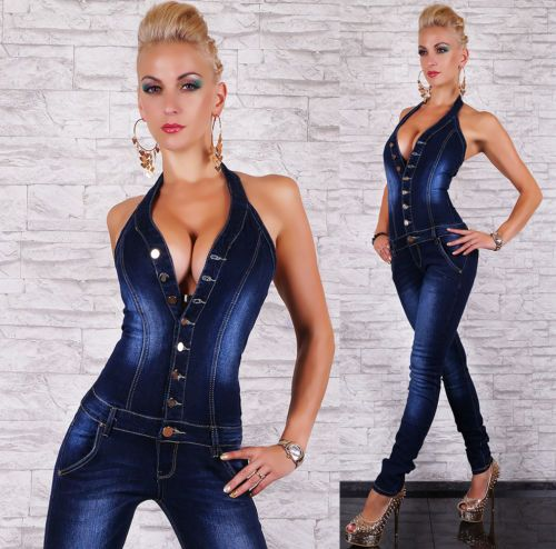 Sexy Women's Quality Denim Jumpsuit Overalls Stretch Halter Neck ...