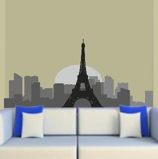 Παρίσι, Περίγραμμα σε γκρι αποχρώσεις , Αυτοκόλλητο τοίχου,17,50 €,https://www.stickit.gr/index.php?id_product=830&controller=product