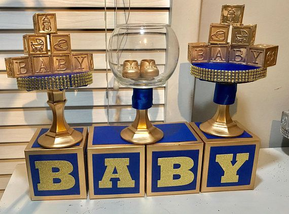 NEW 2017 ROYAL PRINCE BABY SHOWER SIX ROYAL PRINCE BABY SHOWER CENTERPIECES - ROYAL BLUE & GOLD This listing is for only 6(SIX) Royal Prince Baby Shoes and Stroller Centerpiece in Royal Blue and Gold. Approx. 10 inches in size decorated to your baby shower theme. - Baby
