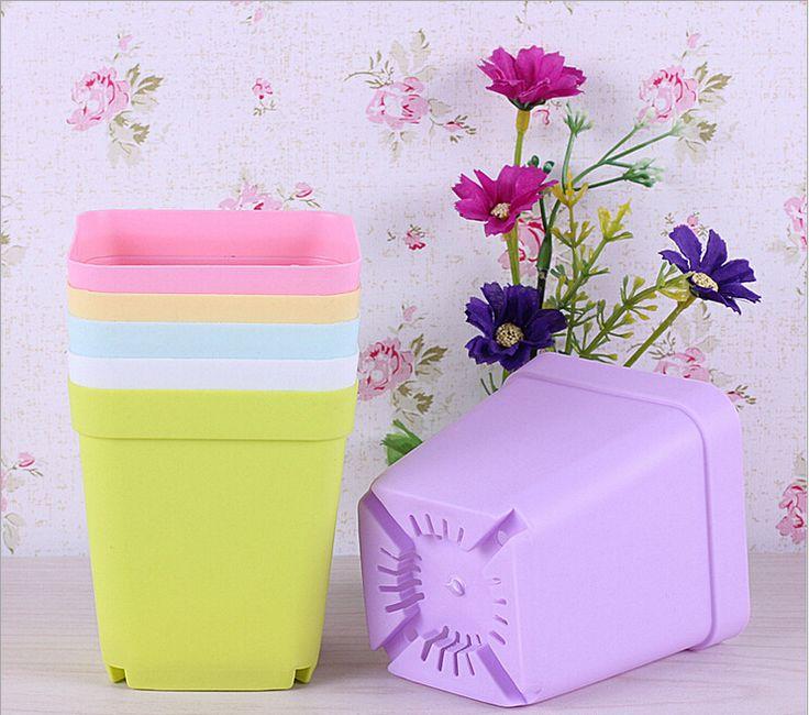 Korean wholesale flower pots, plastic pots, creative small square pots - 7 pcs(7 colors mixed)
