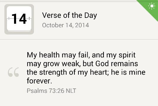 Worry not about physical ailments. GOD forever your strength..