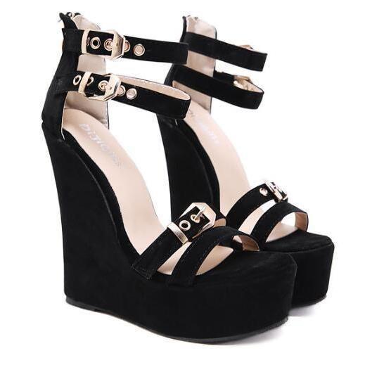 58d4f84961e Buckle Strap Wedge Heel Black Suede Sandals in 2019 | Ladies Sandals ...
