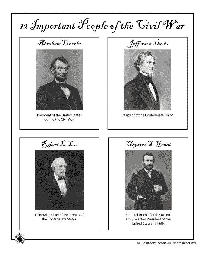 Civil War for Kids  Printables   http://www.classroomjr.com/civil-war-for-kids/civil-war-generals-presidents/#