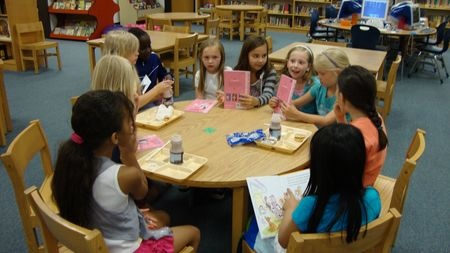 The Katie Woo book club discusses the latest book. Students from Liberty Elementary School in Franklin, Tennessee.