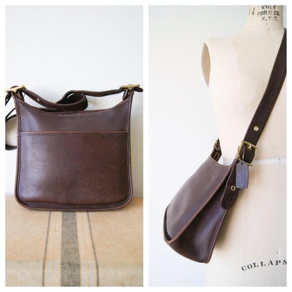 Vintage Coach Crossbody Purse. Brown Leather Cross Body Bag. Saddle Shoulder Bag. Coach 9966.