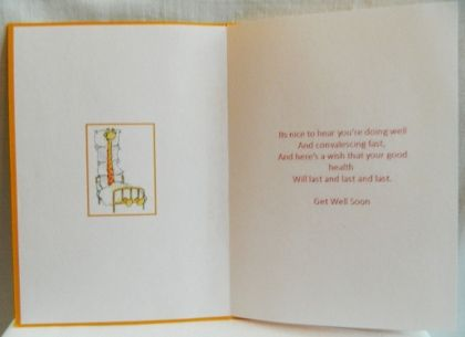 """This card is layered with a decoupage giraffe.   Inside verse:   Its nice to hear you're doing well  And convalescing fast, and here's a wish that your good health, will last and last and last. Get well soon.     6"""" x 4.25""""  15 cm x 11cm"""