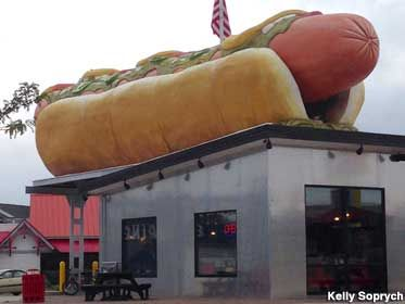 Giant Hot Dog Roadside Attraction...Mackinaw city-Giant hot dog.