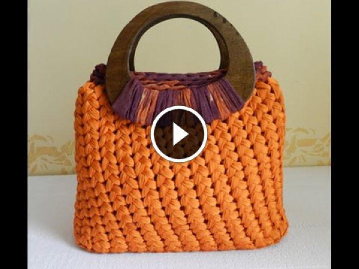 Tutorial video punto spiga o punto Sery all'uncinetto per fettuccia | Fondo pronto per borse | DIY crochet stitch | bolsos en trapillo
