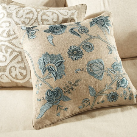 Elegant Applique and beautiful embroidery in lovely blue tones applied to 100% natural linen cases adds style and sophistication to our Montage Collection. This globally inspired private label toss pillow collection is completely handcrafted exclusively for Arhaus to offer you extraordinary pieces that deliver a distinctive, decorator-inspired look for your home.