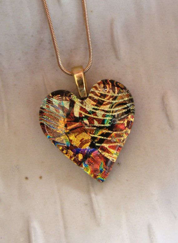 10 best see glass crystal stone images on pinterest crystals fused dichroic glass heart pendant necklace mozeypictures Images
