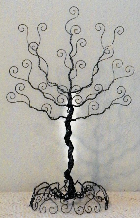 Wire jewelry tree stand earring necklace organizer by ivysgembox, $19.00